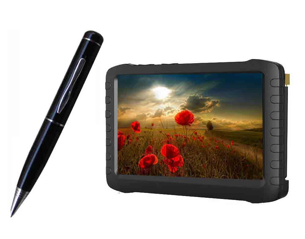 2.4G Wireless Ultra-low lux Pen Camera + 2.4GHz HD wireless mini DVR 5inch TFT support 32G SD card